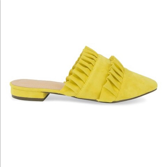 Chase + Chloe Shoes - 🛍 Yellow Suede Slip-On Mule Double Ruffles